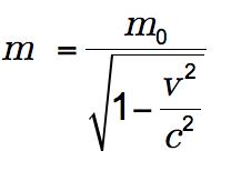 m equals begin fraction m sub 0 over begin square root 1 minus begin fraction v sup 2 over c sup 2 end fraction end square root end fraction