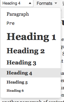 Heading Examples from Pressbooks Visual Style Editor.