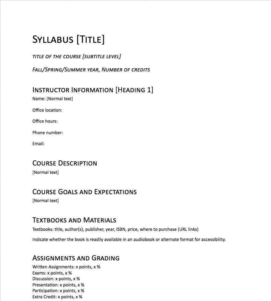 Sample of an accessible syllabus