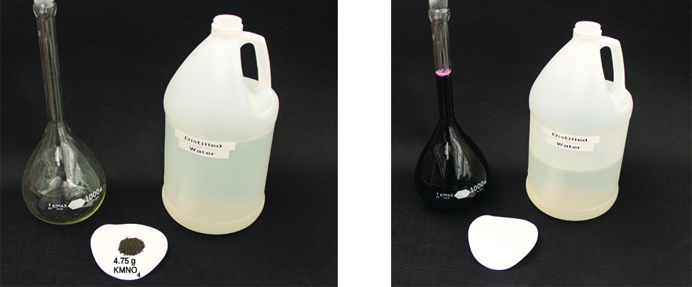This figure shows two photos. In the first, there is an empty glass container, 4.75 g of K M n O subscript 4 powder on a white circle, and a bottle of distilled water. In the second photo the powder and about half the water have been added to the glass container. The liquid in the glass container is almost black in color.