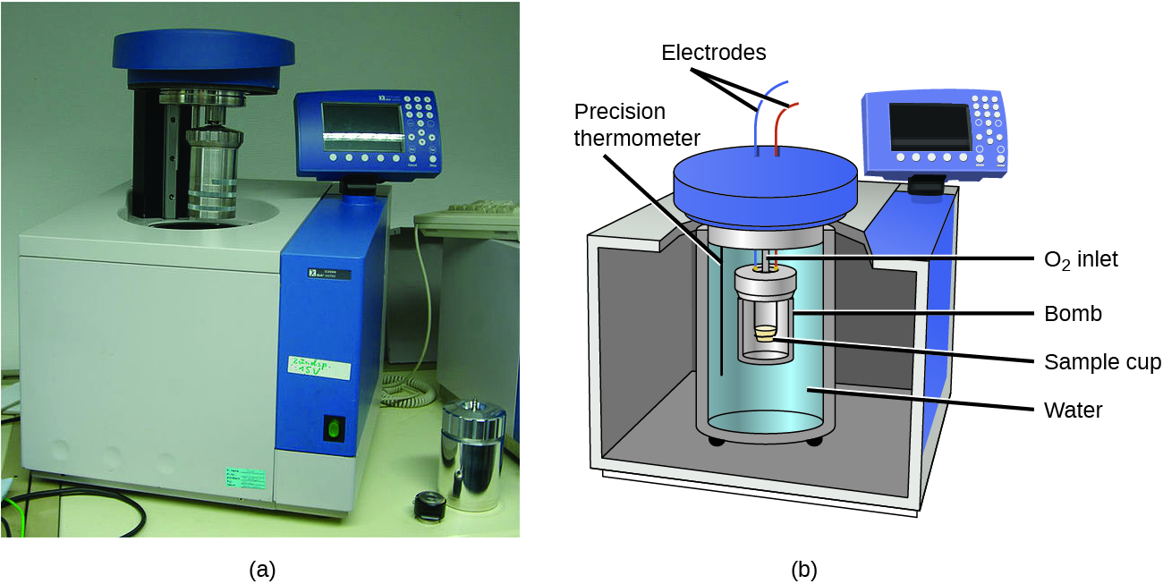 "A picture and a diagram are shown, labeled a and b, respectively. Picture a depicts a bomb calorimeter. It is a cube-shaped machine with a cavity in the top, a metal cylinder that is above the cavity, and a read-out panel attached to the top-right side. Diagram b depicts a cut away figure of a cube with a cylindrical container full of water in the middle of it. Another container, labeled ""bomb,"" sits inside of a smaller cylinder which holds a sample cup and is nested in the cylindrical container surrounded by the water. A black line extends into the water and is labeled ""Precision thermometer."" Two wires labeled ""Electrodes"" extend away from a cover that sits on top of the interior container. A read-out panel is located at the top right of the cube."