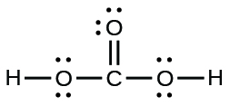 A Lewis structure is shown. A carbon atom is single bonded to three oxygen atoms. Two of those oxygen atoms are each single bonded to a hydrogen atom. Each oxygen atom has two lone pairs of electron dots.