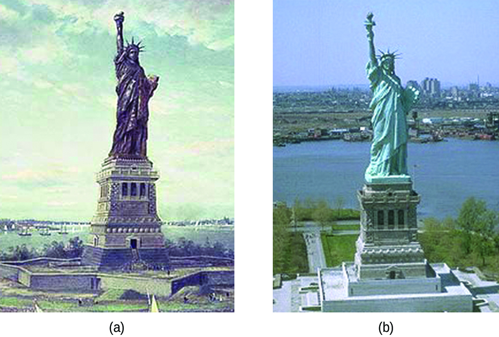 This figure contains two photos of the Statue of Liberty. Photo a appears to be an antique photo which shows the original brown color of the copper covered statue. Photo b shows the blue-green appearance of the statue today. In both photos, the statue is shown atop a building, with a body of water in the background.