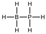 This Lewis structure is composed of a boron atom single bonded to a phosphorus atom. Each of these atoms is single bonded to three hydrogen atoms.