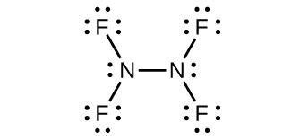 This Lewis structure shows two nitrogen atoms, each with one lone pair of electrons, single bonded to one another and each single bonded to two fluorine atoms. Each fluorine atom has three lone pairs of electrons.