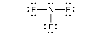 This Lewis structure shows a nitrogen atom, with one lone pair of electrons, single bonded to three fluorine atoms. Each fluorine atom has three lone pairs of electrons.