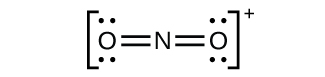 This Lewis structure shows a nitrogen atom double bonded on both sides to an oxygen atom which has two lone pairs of electrons each. The structure is surrounded by brackets and outside and superscript to the brackets is a negative sign.