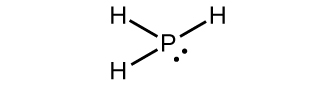 This Lewis structure shows a phosphorus atom with a lone pair of electrons single bonded to three hydrogen atoms.