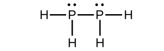This Lewis structure shows two phosphorus atoms, each with a lone pair of electrons, single bonded to one another. Each phosphorus atom is also single bonded to two hydrogen atoms.