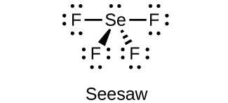 "This Lewis structure shows a selenium atom with one lone pair of electrons single bonded to four fluorine atoms, each of which has three lone pairs of electrons. The image is labeled ""Seesaw."""