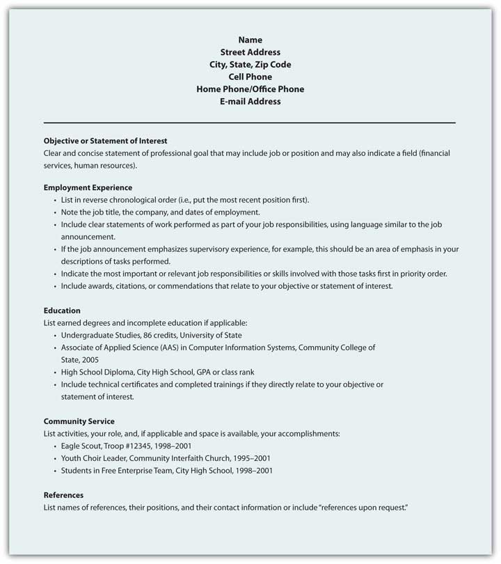 Sample Format for Chronological Résumé
