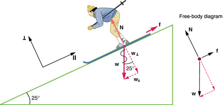 A skier is skiing down the slope and the slope makes a twenty-five degree angle with the horizontal. Her weight W, shown by a vector vertically downward, breaks into two components—one is W parallel, which is shown by a vector arrow parallel to the slope, and the other is W perpendicular, shown by a vector arrow perpendicular to the slope in the downward direction. Vector N is represented by an arrow pointing upward and perpendicular to the slope, having the same length as W perpendicular. Friction vector f is represented by an arrow along the slope in the uphill direction. In a free-body diagram, the vector arrow W for weight is acting downward, the vector arrow for f is shown along the direction of the slope, and the vector arrow for N is shown perpendicular to the slope.