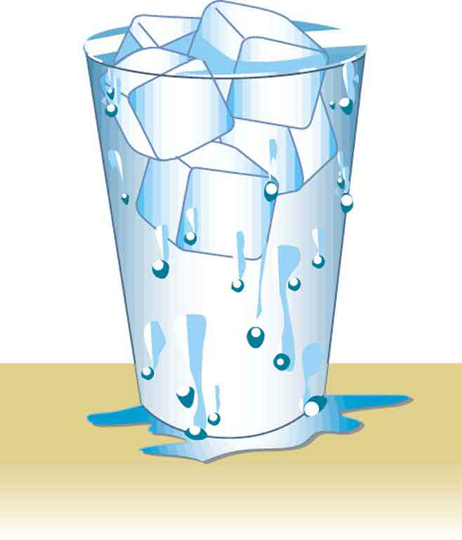 A glass filled to the brim with water and ice cubes.