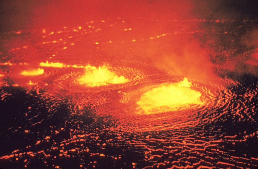 A view of a lava flow on the Kilauea volcano of Hawaii.