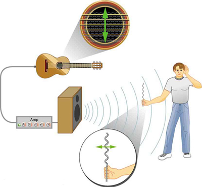 The figure shows a guitar connected to an amplifier and a man holding a sheet of paper facing the speaker attached to the amplifier. The strings of the guitar when played cause transverse waves. On the other hand, the sound of the guitar creates ripples on the sheet of paper causing it to rattle in a direction that shows that the sound waves are longitudinal.