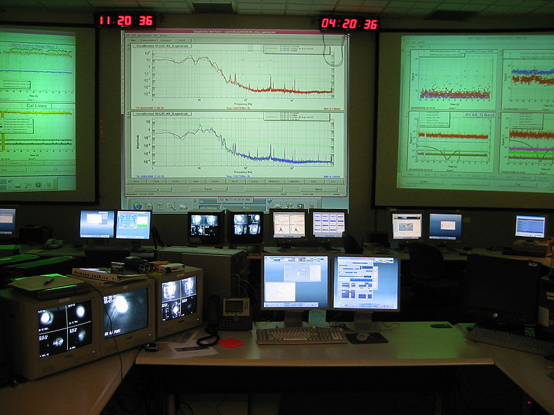 This figure shows a windowless room full of desks and computer screens and with three large screens on the wall upon which are projected a lot of technical graphs.