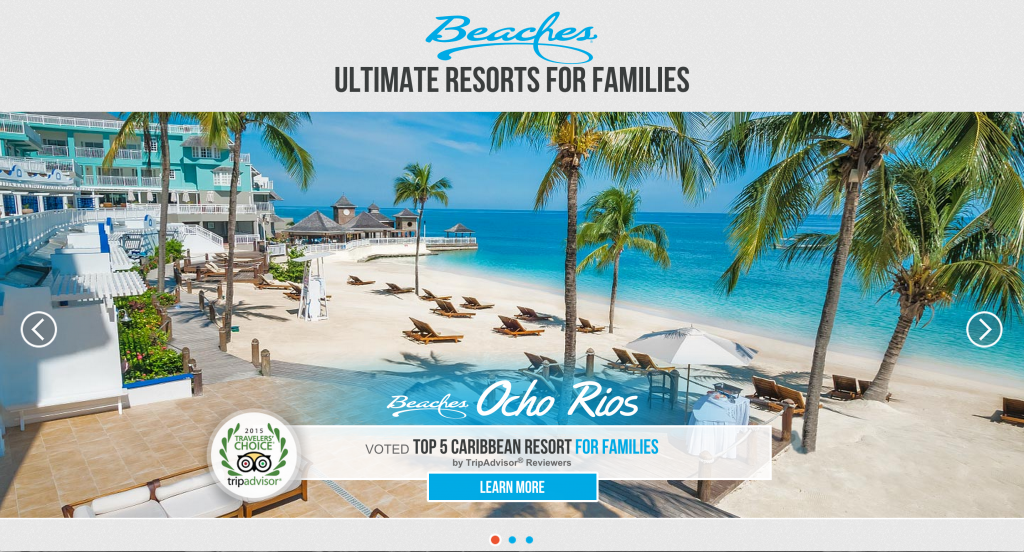 Beaches Resorts website screen shot