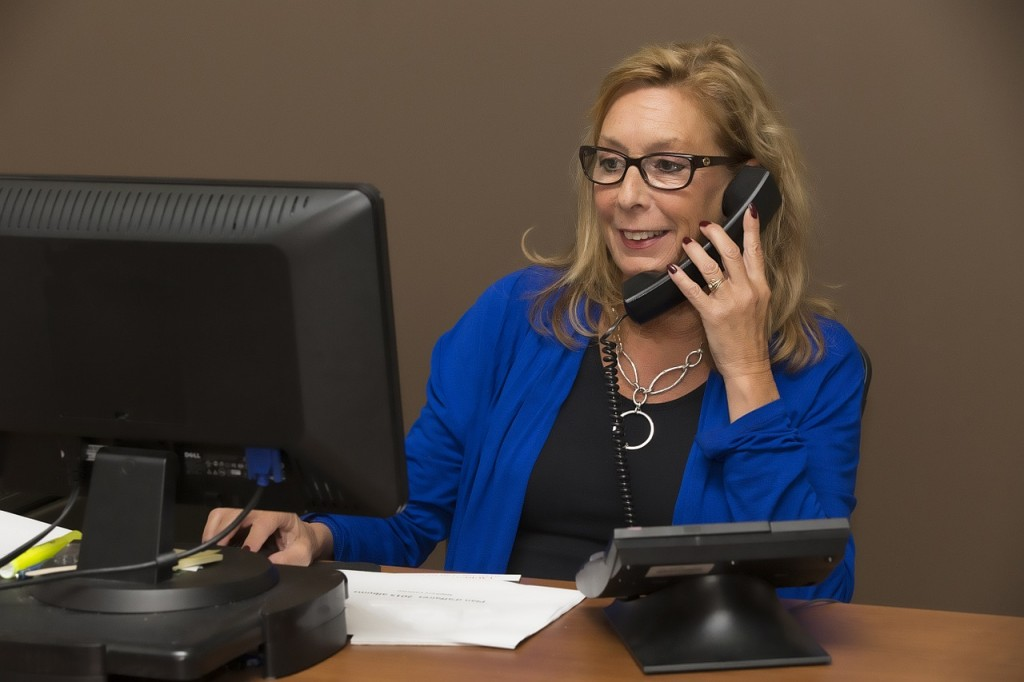 A sales woman on the phone