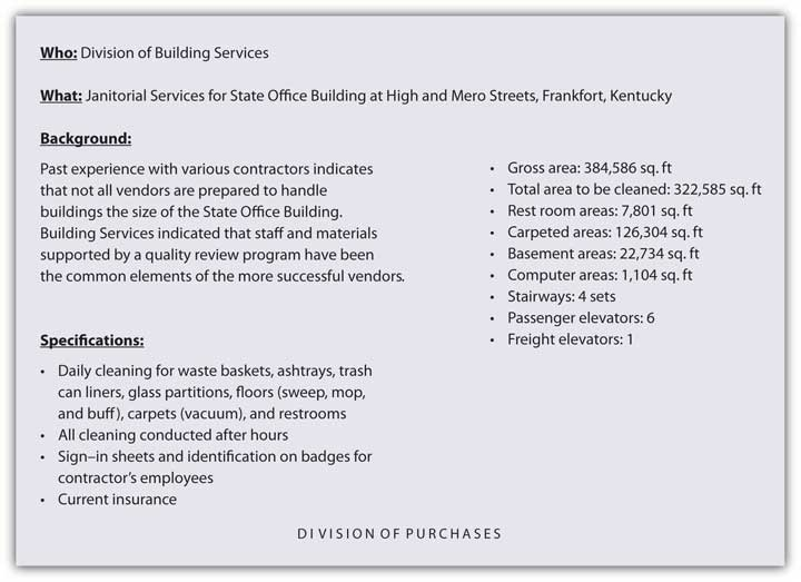 An example of product specifications developed for a B2B purchase