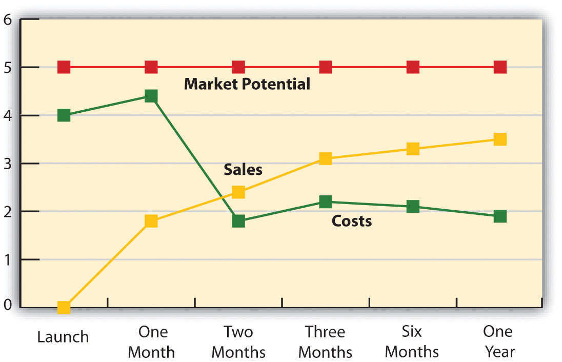A marketing plan timeline illustrating market potential, sales, and costs
