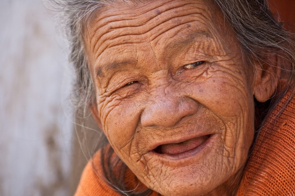 A happy old woman