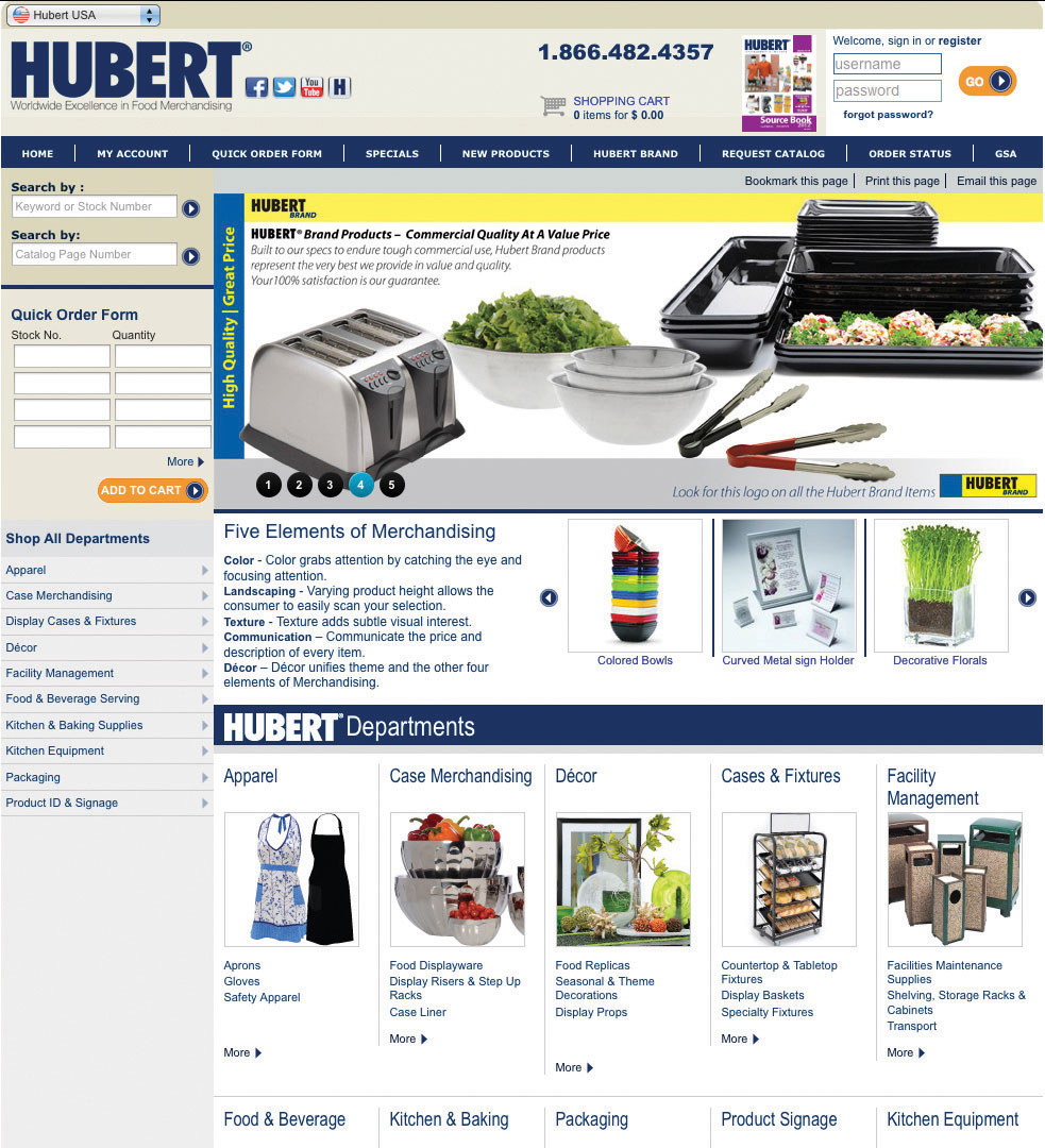 Hubert Company website screen shot