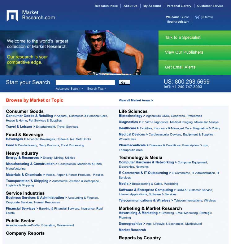 A screen shot of Market Research's website