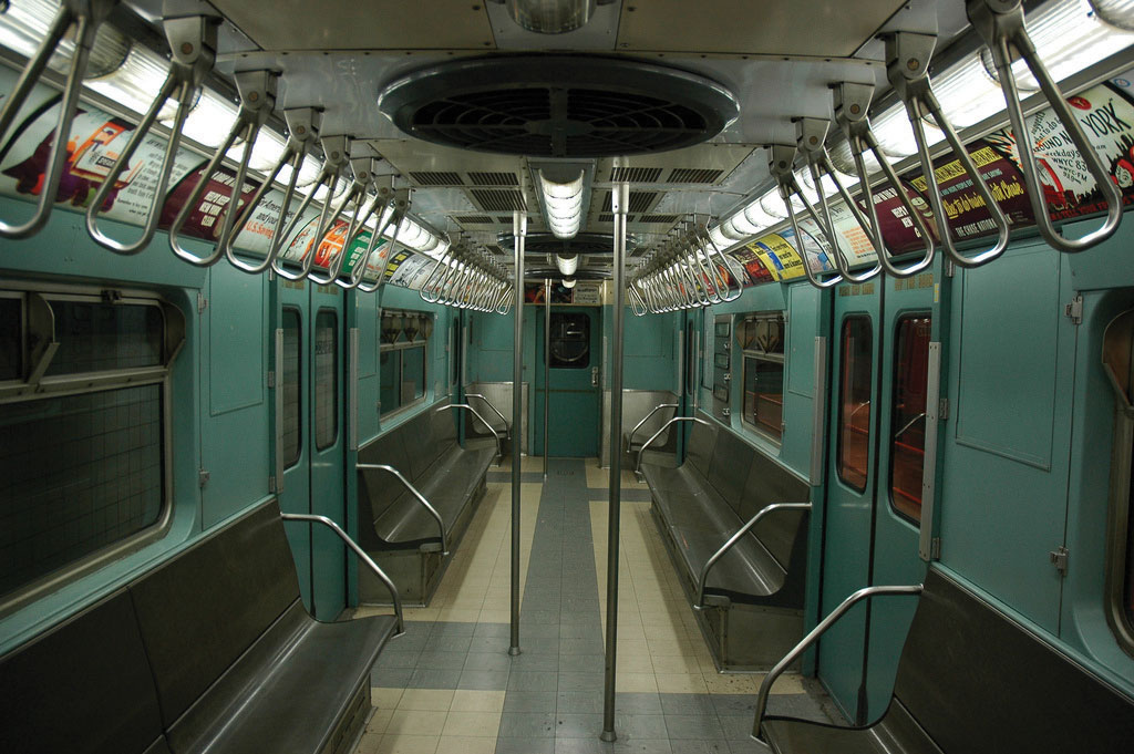 Inside of a vintage New York City subway train