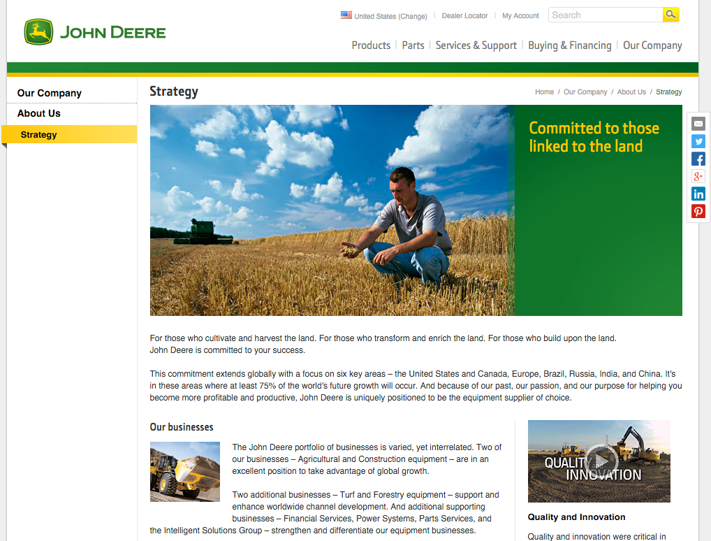John Deere's mission statement