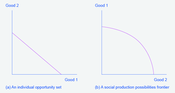 "Two graphs will occur frequently throughout the text. They represent the possible outcomes of constraints/production of goods. The graph on the left has ""Good 2"" along the y-axis and ""Good 1"" along the x-axis. The graph on the right has ""Good 1"" along the y-axis and ""Good 2"" along the x-axis."