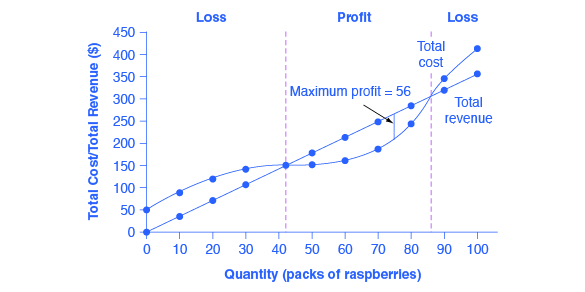 The graph shows that firms will incur a loss if the total cost is higher than the total revenue.
