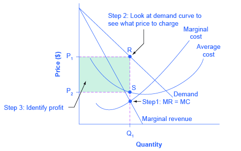 The graph shows monopoly profits as the area between the demand curve and the average cost curve at the monopolist's level of output.