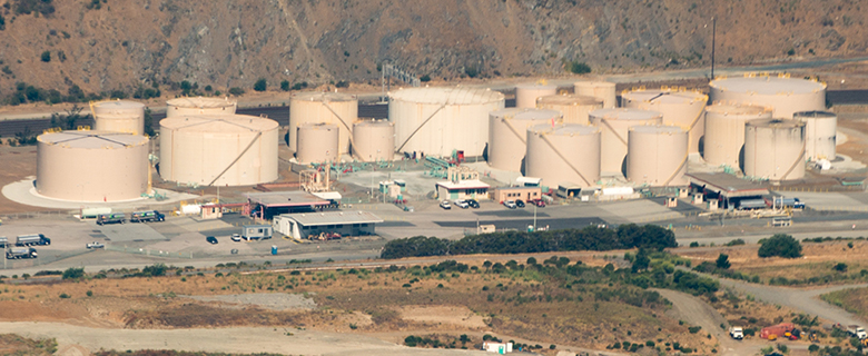 This picture is an arial view of a Kinder Morgan facility.