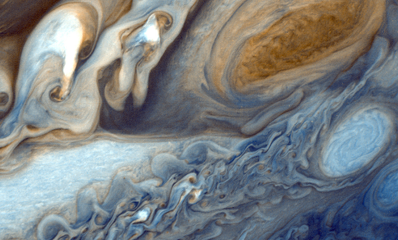 This image is a photograph of Jupiter taken from Voyager 1.