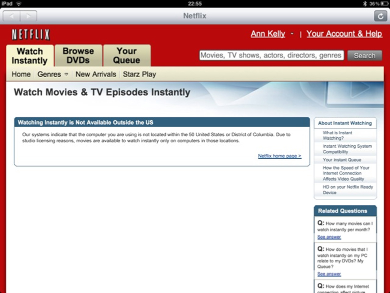 Photo of the Netflix Watch Instantly tab to watch movies and TV episodes instantly via streaming media