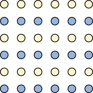 An illustration shows six rows of six dots each. The rows of dots alternate between blue and white colored dots.