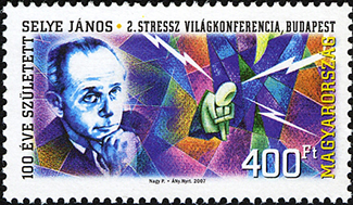 A stamp featuring Hans Selye is shown.