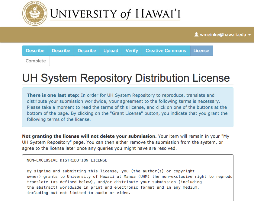 Grant Uhm A Distribution License Uh Oer Repository Info