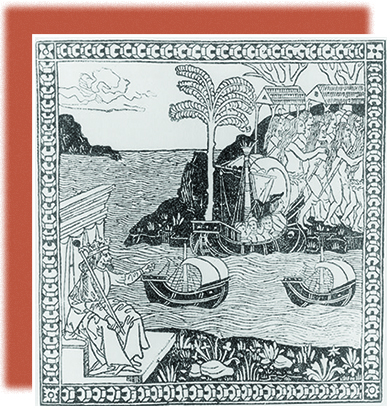 A woodcut shows King Ferdinand of Spain as a crowned, robed ruler seated on a throne, surrounded by land and sea. He points across the Atlantic, where Columbus lands with three large ships. A large group of Indians is shown on the shore.