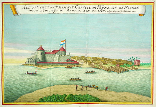A painting shows Elmina Castle, which is flying the Dutch flag.