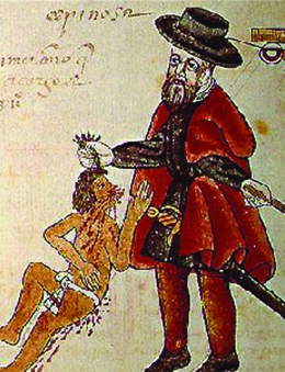 A drawing shows a Spaniard, wearing a beard and European clothing and holding a stick or sword, pulling the hair of a much smaller Indian who is wearing a loincloth and has blood flowing from his face and body.