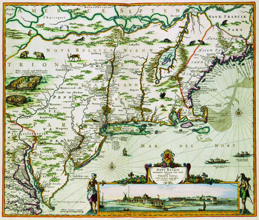 A 1684 map of New Netherland shows Dutch settlements in parts of present-day New Jersey, New York, Pennsylvania, Delaware, Maryland, and Connecticut.