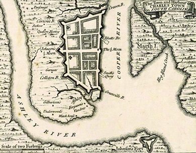 "A colonial map shows the port of Charles Towne. Labels indicate the Cooper River, the Ashley River, and other features such as ""Smith's Quay"" and ""Watch house."""