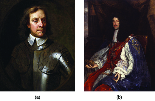 Painting (a) is a portrait of Oliver Cromwell. Painting (b) is a portrait of King Charles II.