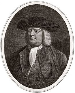 A portrait of William Penn is shown.