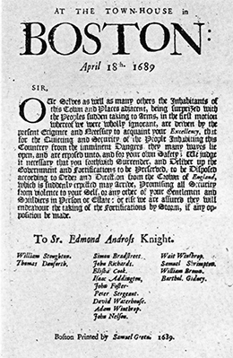 A broadside demanding the surrender of Sir Edmund Andros, with fifteen signatures at bottom, is shown.