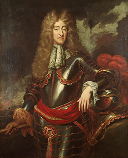 A portrait of James II is shown.
