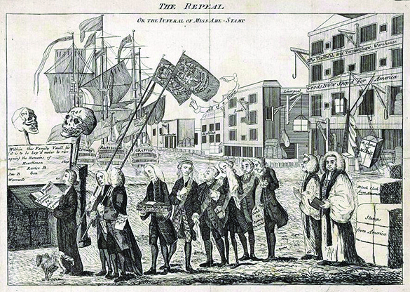 "A cartoon shows a funeral procession for the Stamp Act. Funeral-goers proceed toward a vault, above which two skulls labeled ""1715"" and ""1745"" are raised. Reverend William Scott leads a procession of politicians who had supported the act, while a dog urinates on his leg. George Grenville, pictured fourth in line, carries a small coffin. In the background is a dock, with ships labeled ""Conway,"" ""Rockingham,"" and ""Grafton."""