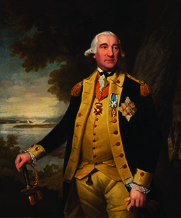 A portrait of Friedrich Wilhelm von Steuben is shown. He wears a black military coat and a number of medals and ribbons, and rests his hand on a sword.
