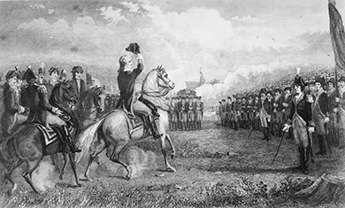 An etching shows troops on foot and on horseback gathered in formation on Cambridge Common. George Washington is in the center on horseback raising his hat.